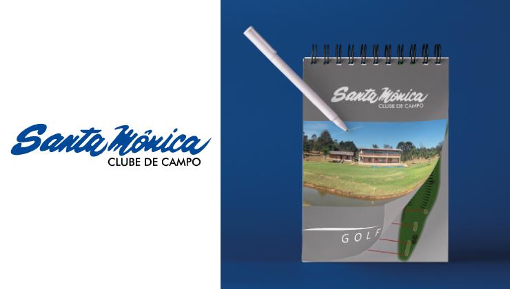 Criação da caderneta com a história do golfe do Clube de Campo Santa Mônica, sua implementação no clube, mapas dos campos e espaço para anotações.