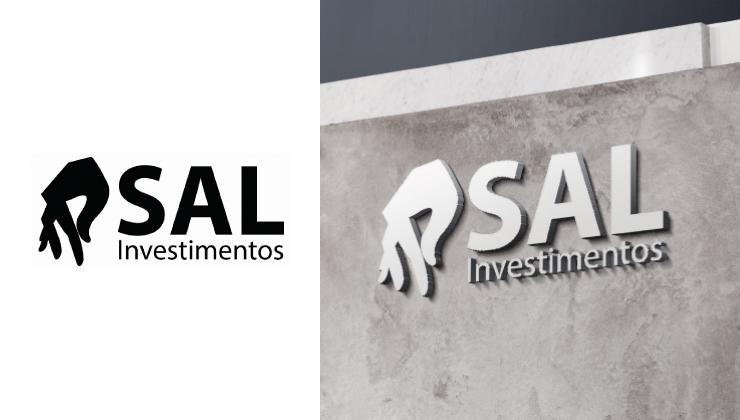 Proposta de identidade visual para a SAL Investimentos, trabalhando a construção do elemento visual junto com o nome da empresa.