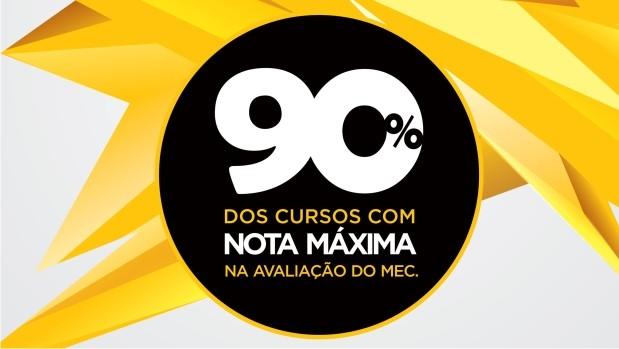 90% dos cursos avaliados pelo MEC possuem conceito máximo.