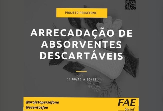Projeto Perséfone promove campanha de arrecadação de absorventes descartáveis