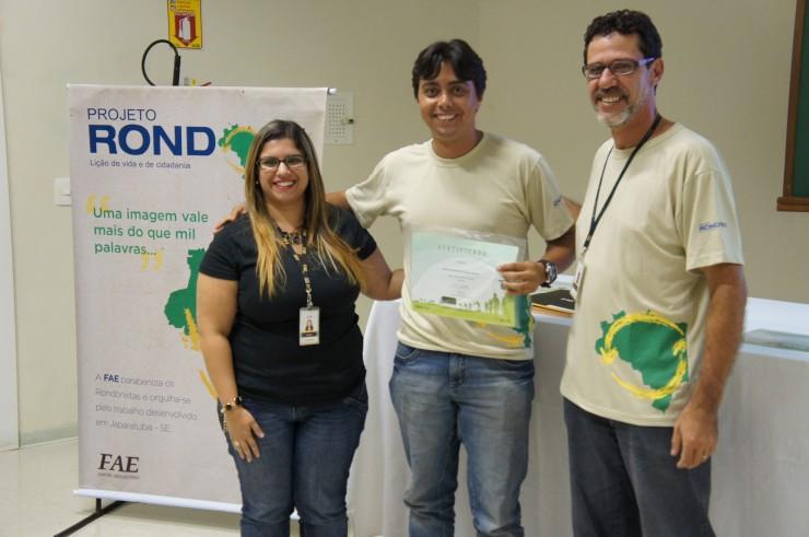 Mariana Prado Mueller (Núcleo de Extensão), Gustavo Henrique Pedroso Santos (Ciências Econômicas), Marco Antonio R. Pedroso (coordenador do curso de Design e coordenador do Projeto Rondon na FAE).